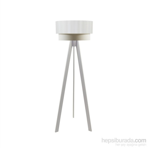Crea Lighting Doubleshade Beyaz Tripod Lambader/Saten/Beyaz