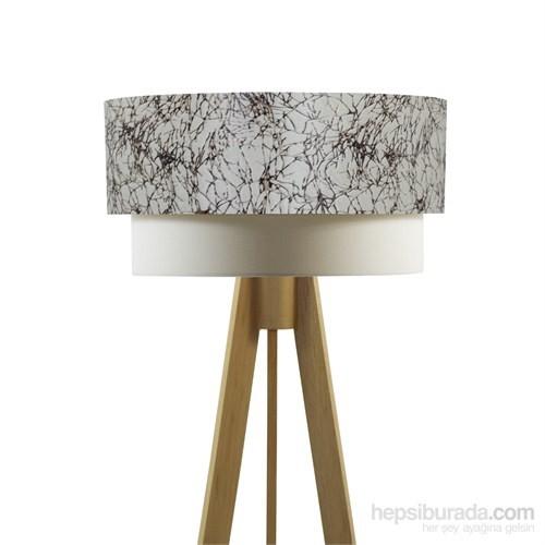 Crea Lighting Doubleshade Naturel Tripod Lambader/Kadife/Çırpı