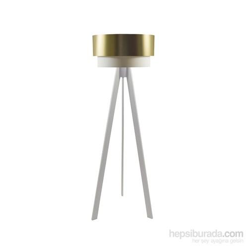 Crea Lighting Doubleshade Beyaz Tripod Lambader/Pvc/Gold