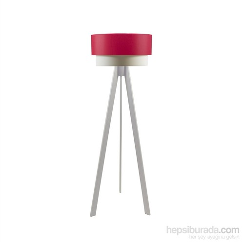 Crea Lighting Doubleshade Beyaz Tripod Lambader/Scala/Kırmızı
