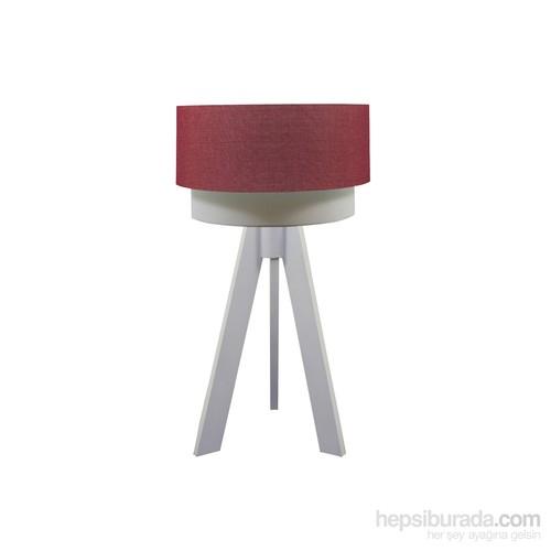 Crea Lighting Doubleshade Beyaz Tripod Abajur/Keten/Kırmızı