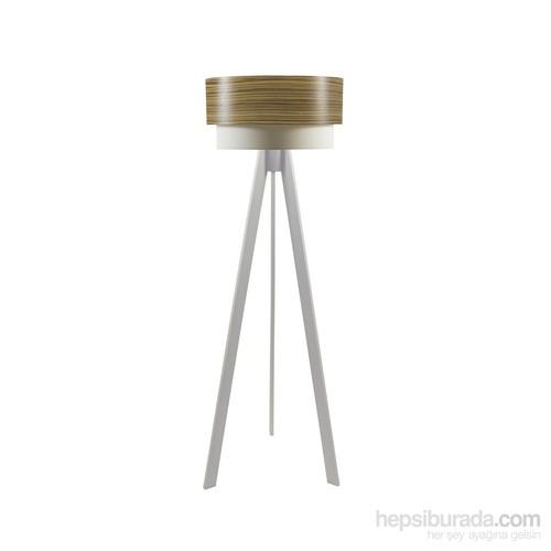 Crea Lighting Doubleshade Beyaz Tripod Lambader/Wood/Zeytin