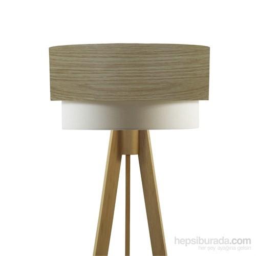 Crea Lighting Doubleshade Naturel Tripod Lambader/Wood/Açık Meşe