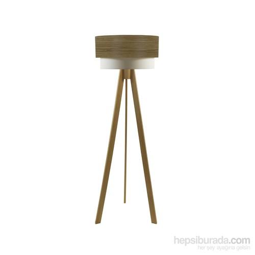 Crea Lighting Doubleshade Naturel Tripod Lambader/Wood/Koyu Meşe