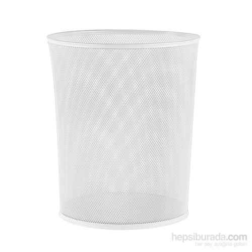 Delikli Metal Çöp Kovası - Beyaz