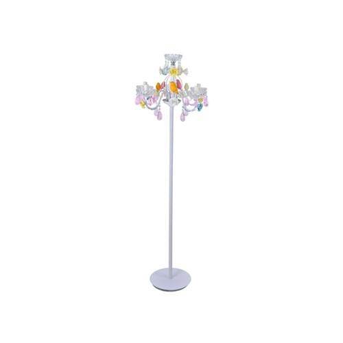 Lucky Art Renkli Kuşlu Beyaz Lambader 155 Cm