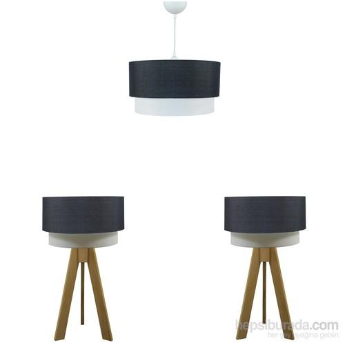 Crea Lighting Doubleshade Naturel Yatak Odası Set/Keten/Siyah