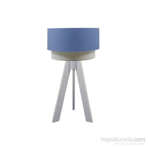 Crea Lighting Doubleshade Beyaz Tripod Abajur/Cotton/Mavi