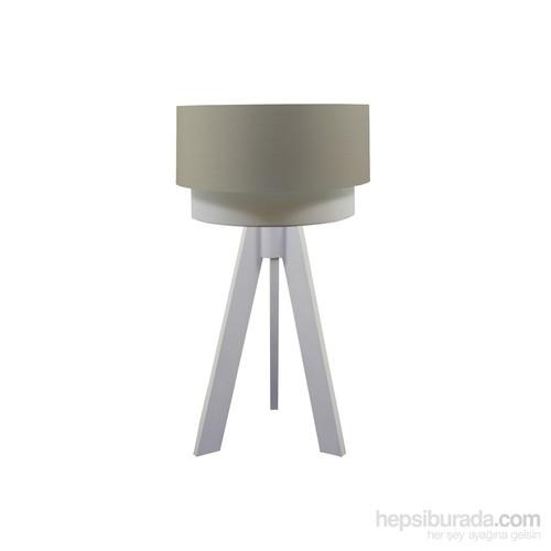 Crea Lighting Doubleshade Beyaz Tripod Abajur /Cotton/Sütlü Kahve