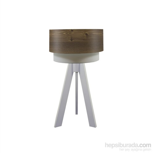 Crea Lighting Doubleshade Beyaz Tripod Abajur/Wood/Rustik