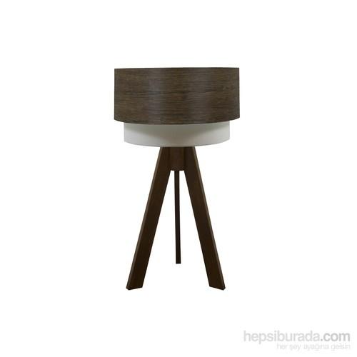 Crea Lighting Doubleshade Ceviz Tripod Abajur/Wood/Arizona