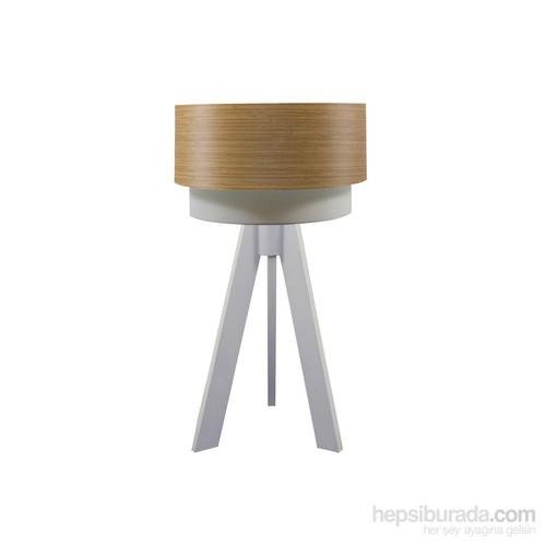 Crea Lighting Doubleshade Beyaz Tripod Abajur/Wood/Koyu Bambu