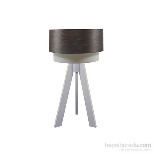 Crea Lighting Doubleshade Beyaz Tripod Abajur/Wood/Alpi