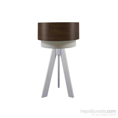 Crea Lighting Doubleshade Beyaz Tripod Abajur/Wood/Betula
