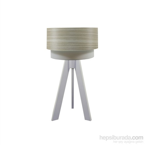 Crea Lighting Doubleshade Beyaz Tripod Abajur/Wood/Borame