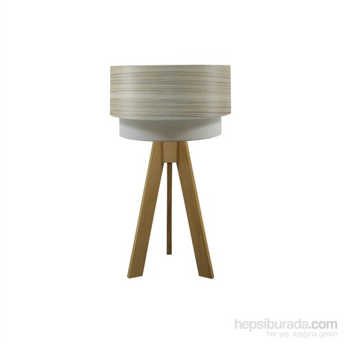Crea Lighting Doubleshade Naturel Tripod Abajur/Wood/Borame