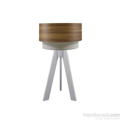 Crea Lighting Doubleshade Beyaz Tripod Abajur/Wood/Elma