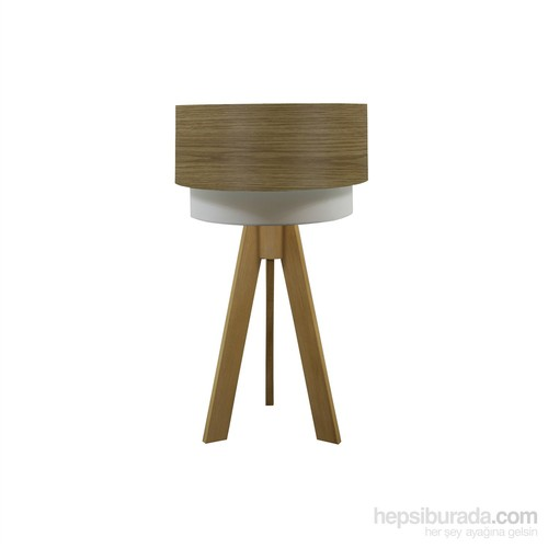 Crea Lighting Doubleshade Naturel Tripod Abajur/Wood/Koyu Meşe