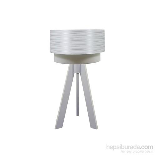 Crea Lighting Doubleshade Beyaz Tripod Abajur/Pvc/Beyaz Dalga