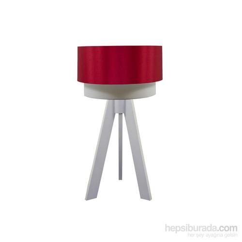 Crea Lighting Doubleshade Beyaz Tripod Abajur/Saten/Kırmızı