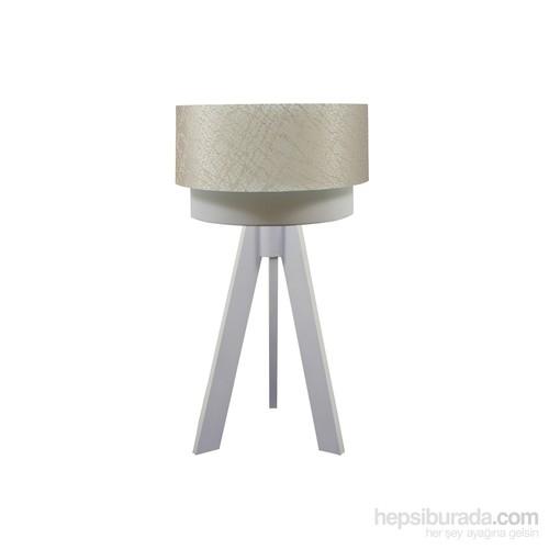 Crea Lighting Doubleshade Beyaz Tripod Abajur/File/Sütlü Kahve