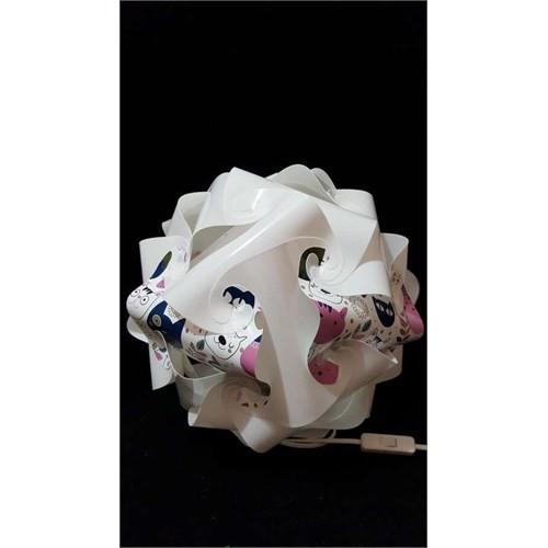 Puzzle Pyabj057 Beyaz/Retro Kedi Desenli Abajur
