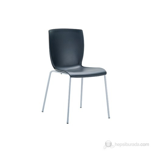 Siesta 046 Mio Sandalye (Gri Boyalı Metal Ayaklı) Siyah - 1 Adet
