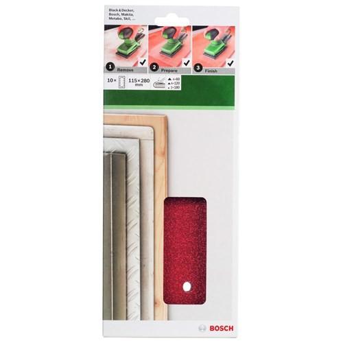 Bosch - Titreşimli Zımpara Kağıdı 10'Lu Set, 115 X 280 Mm 60/120/180 Kum 14 Delik