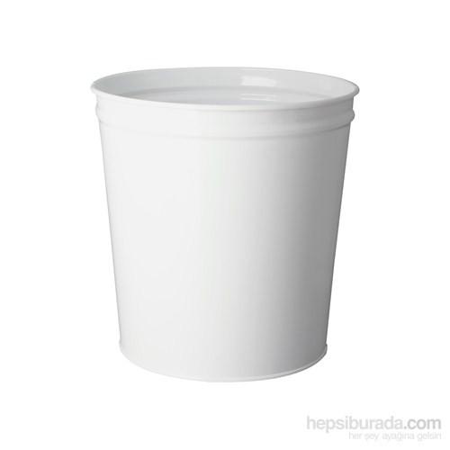 Çok Amaçlı Metal Çöp Kovası Beyaz