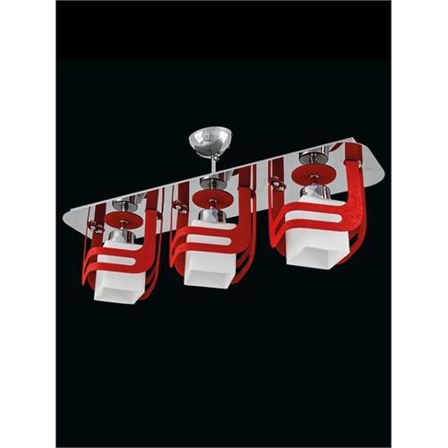 Sedef Avize Özel Tasarım Krom Kırmızı 3'Lü Avize