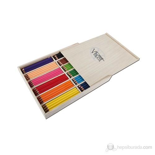 Vincent Jumbo Maxi Renkli Sap Kuru Boya Kalemi 144'lü Ahşap Kutu Set