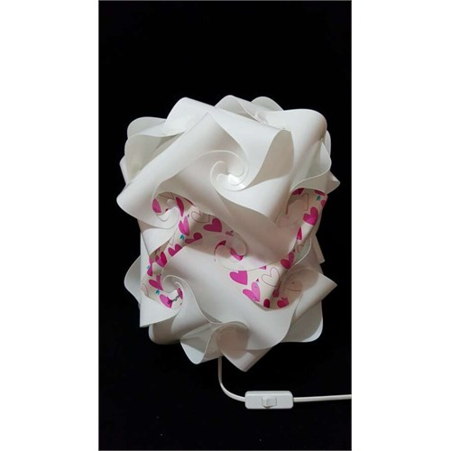 Puzzle Psabj028 Beyaz/Pembe Kalp Desenli Abajur
