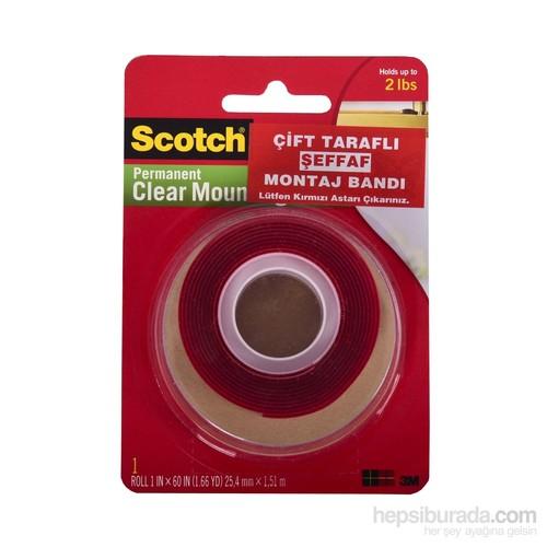 Scotch® Şeffaf Çift Taraflı Köpük Bant 25,4mm x 1,5m
