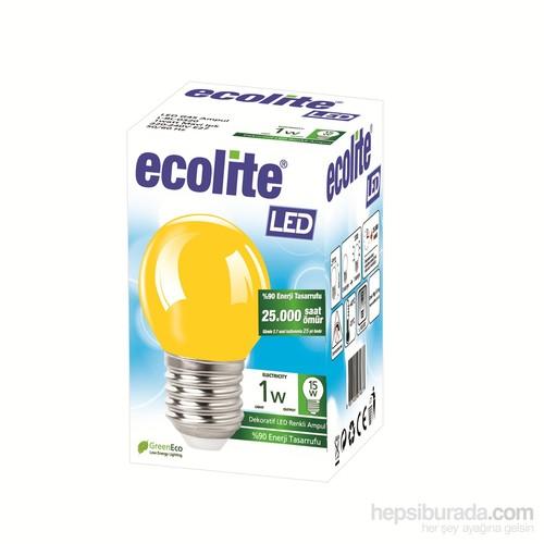 Ecolıte Led Renkli Ampul 1W E27 Sarı Işık