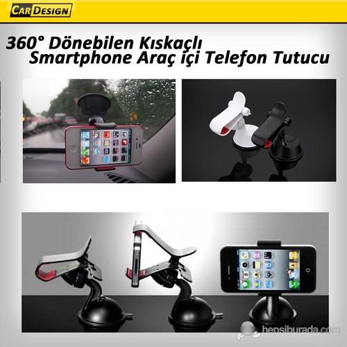 CRD 360° Dönebilen Kıskaçlı Smartphone Araç içi Telefon Tutucu Siyah