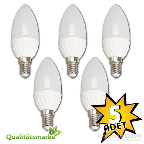 Vialicht 5W(40W)Led Mum Kıvrık Ampul E14 470Lümen Eco 5'Li Paket 2700K Sarı Işık
