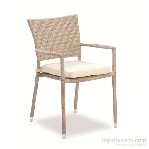 Sette EM020-B Sentetik Rattan Sandalye Beyaz