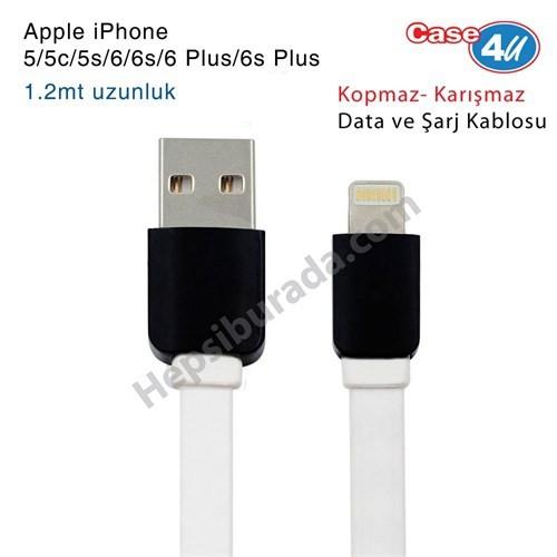Case 4U Apple iPhone 5/5c/5s/6/6s/6 Plus/6s Plus/iPad Lightning Usb Data ve Şarj Kablosu Beyaz