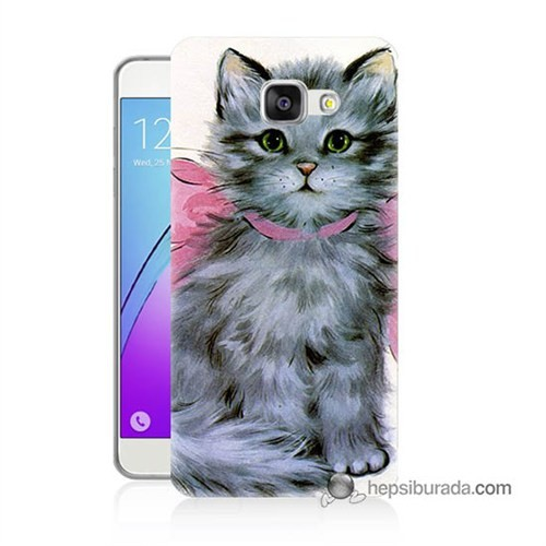 Teknomeg Samsung Galaxy A5 2016 Kılıf Kapak Papyonlu Kedi Baskılı Silikon