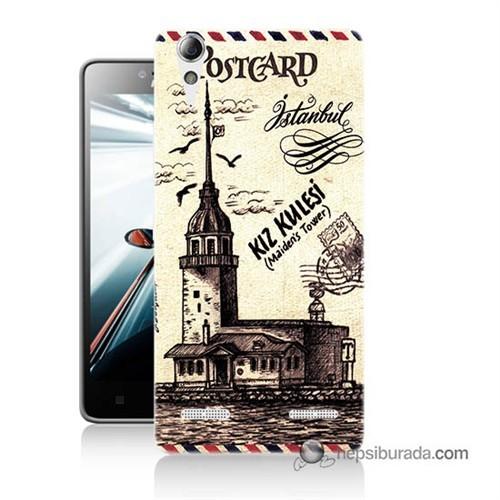 Teknomeg Lenovo A6010 Kapak Kılıf Kız Kulesi Baskılı Silikon