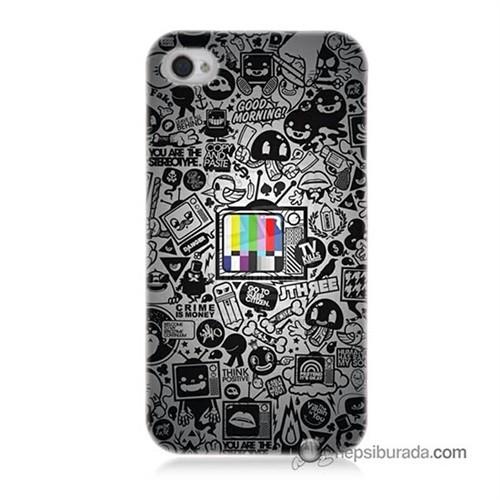 Teknomeg İphone 4S Kapak Kılıf Renkli Tv Baskılı Silikon