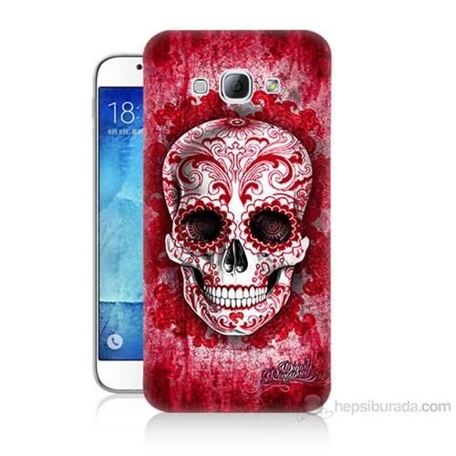 Teknomeg Samsung Galaxy A8 Kırmızı İskelet Baskılı Silikon Kılıf