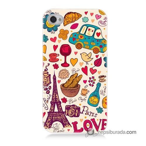 Teknomeg İphone 4 Kapak Kılıf Paris Love Baskılı Silikon