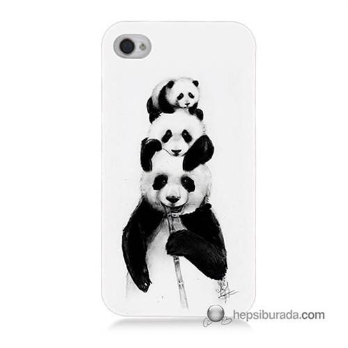 Teknomeg İphone 4 Kapak Kılıf Panda Ailesi Baskılı Silikon