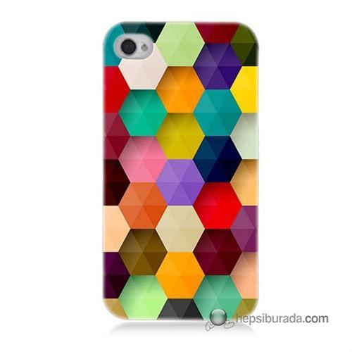Teknomeg İphone 4 Kapak Kılıf Renkli Petek Baskılı Silikon