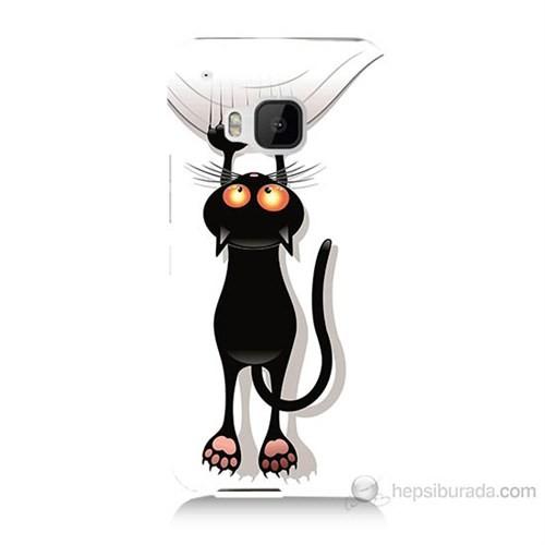 Teknomeg Htc One M9 Kara Kedi Baskılı Silikon Kılıf