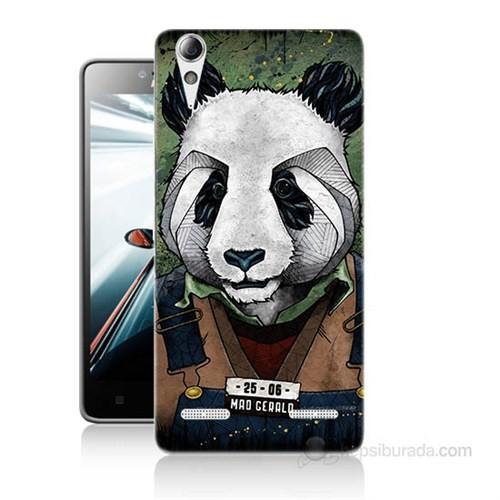 Teknomeg Lenovo A6000 Kapak Kılıf İşçi Panda Baskılı Silikon