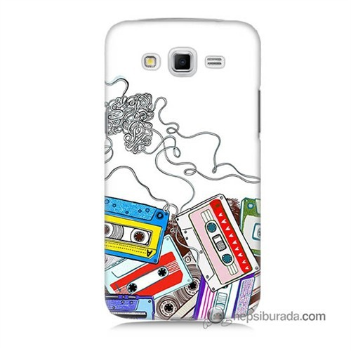 Teknomeg Samsung Galaxy Grand 2 Kapak Kılıf Kasetler Baskılı Silikon