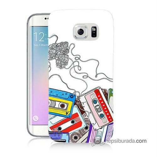 Teknomeg Samsung Galaxy S6 Edge Kapak Kılıf Kasetler Baskılı Silikon