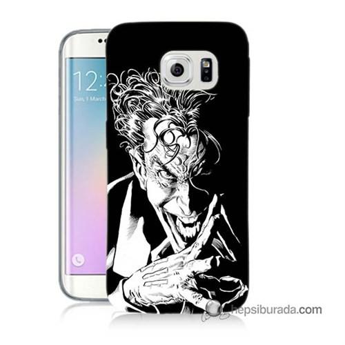 Teknomeg Samsung Galaxy S6 Edge Kapak Kılıf Gülen Joker Baskılı Silikon